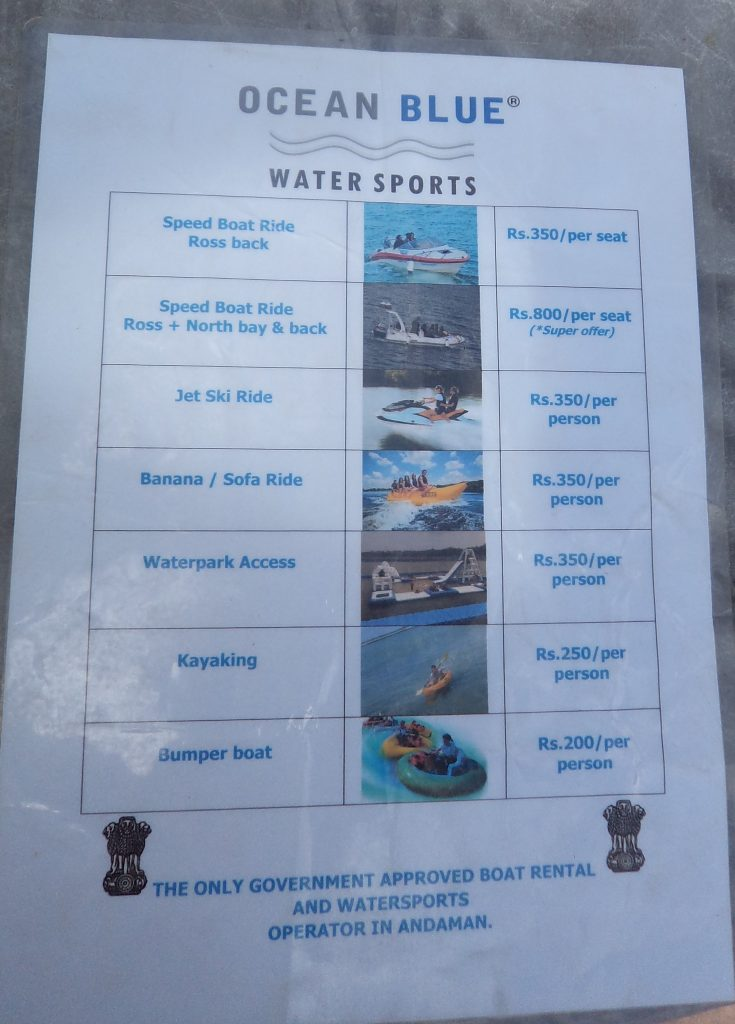 Andaman Water Sports - Water Sports Rate Card