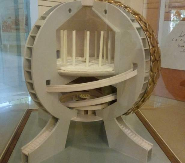 Model of the inner chamber of Matrimandir kept in the Visitor's center