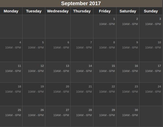 USS Sep 2017 calendar