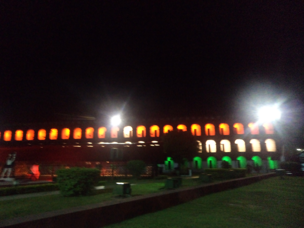 Cellular Jail lighted for the sound and light show