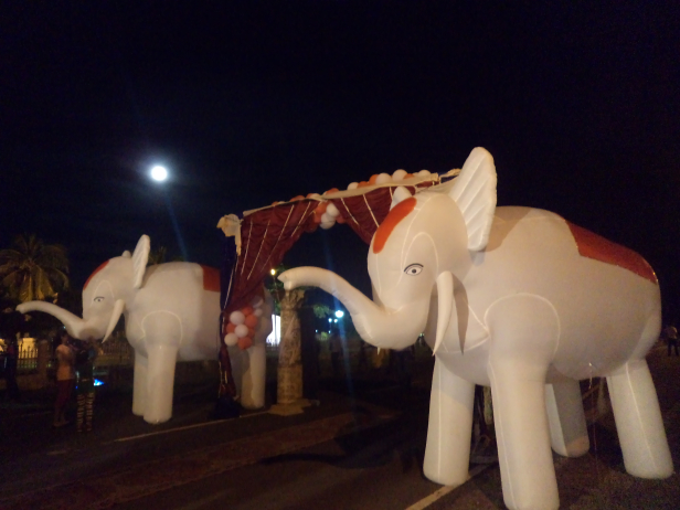 Inflatable elephants at the cultural program, Port Blair