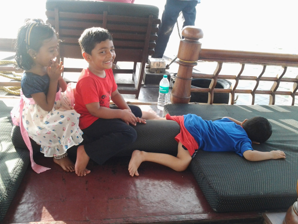 Kids having fun in the houseboat