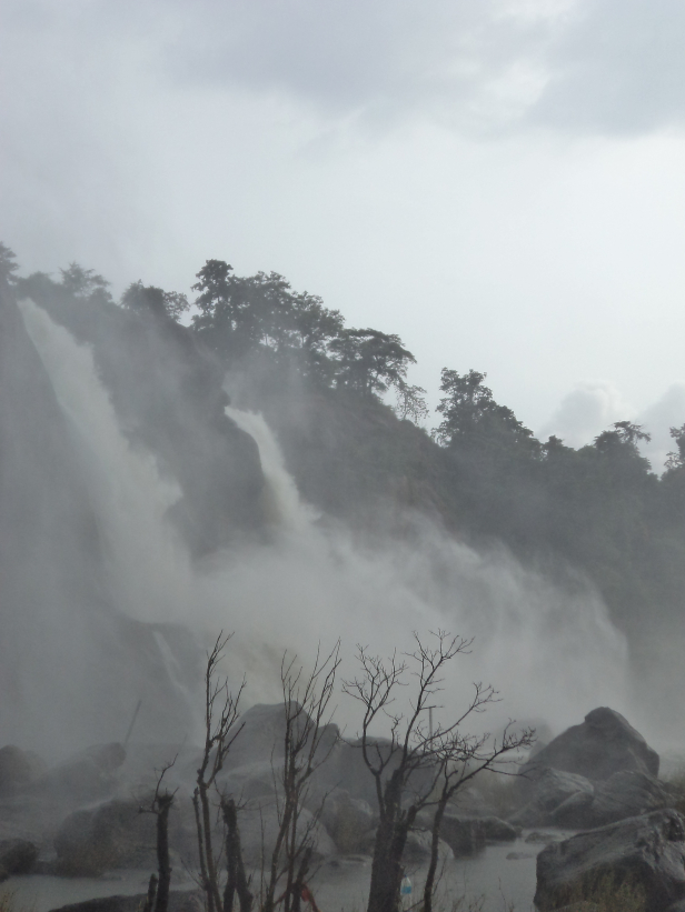 Magnificient front view of Athirapally Falls, Kerala