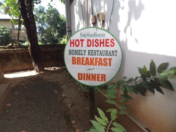 Board Outside Hot Dishes, Alleppey, Kerala