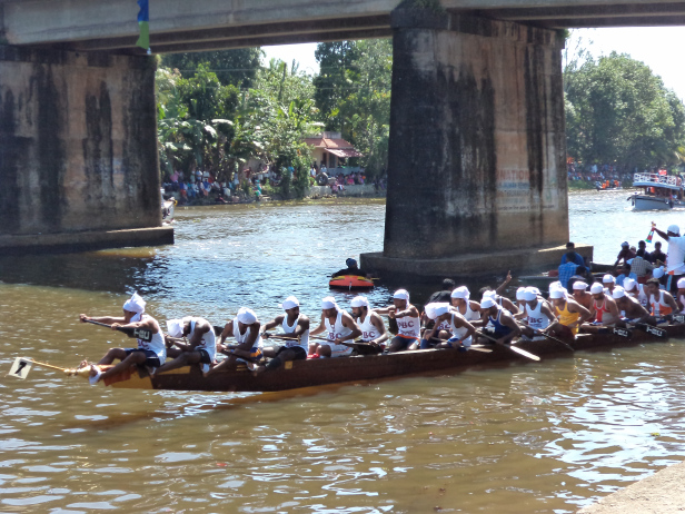 One of the Snake Boats during the trial, Payipad Haripad Snake Boat Race, Kerala