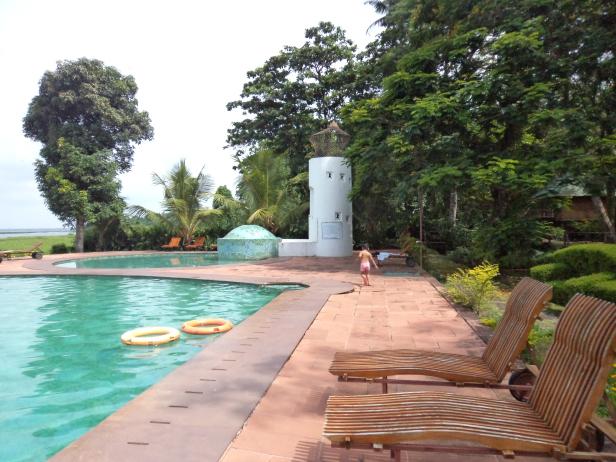 Recliners near adult and kids pool at KTDC Waterscapes, Kumarakom, Kerala