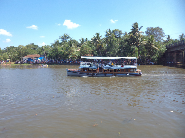 View from the Pavilion at Payipad/ Haripad Snake Boat Race finishing point, Payipad bridge on the right