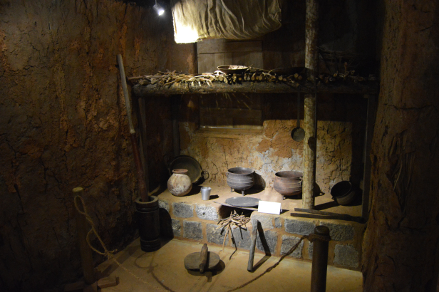 Utensils used by immigrants displayed at Apravasi Ghat, Mauritius