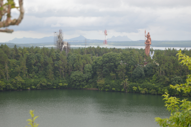 View of Lord Shiva Statue and under construction Goddess Durga's statue