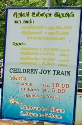 Toy train timings and tariff