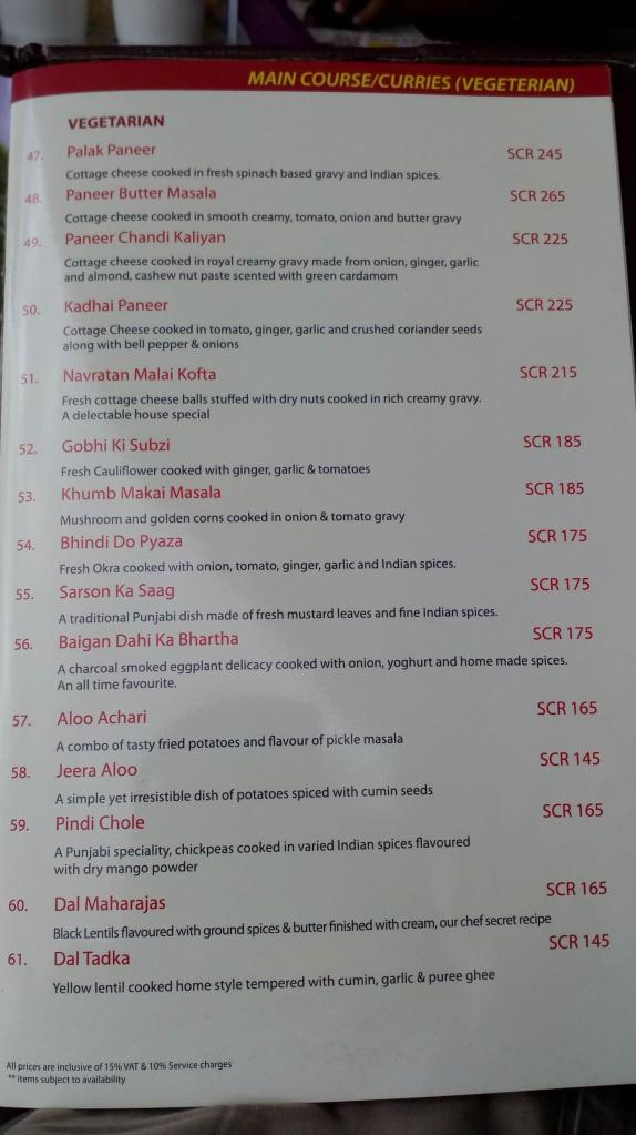 Mahek, Beau Vallon, Mahe menu - veg curries