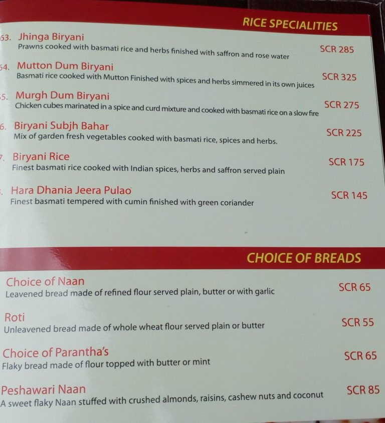 The Maharajas, Eden Island Seychelles rice and bread menu